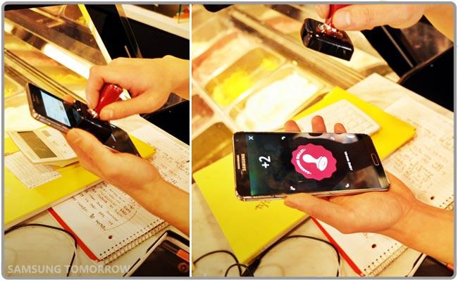 Smartphone tamponné avec le tampon électronique Samsung