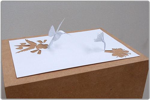 Oiseau et fleur en papier découpé - Distant Wish
