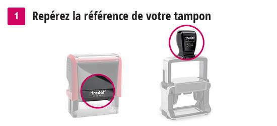 Aide à la commande d'une empreinte pour tampon : étape 1 - repérer la référence du tampon