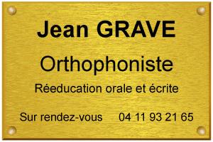 Modèle de plaque dorée d'orthophoniste spécialisé en rééducation orale
