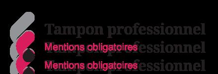 Illustration des informations obligatoires sur un tampon professionnel